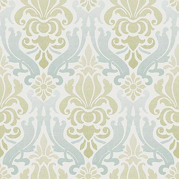 Picture of Blue and Green Nouveau Damask Peel And Stick Wallpaper
