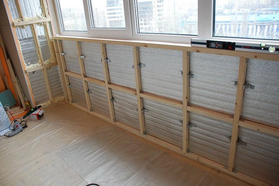 Устройство обрешетке под утеплитель на стене балкона