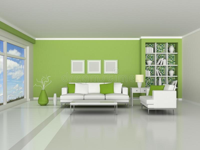 3d render interior of the modern room stock illustration