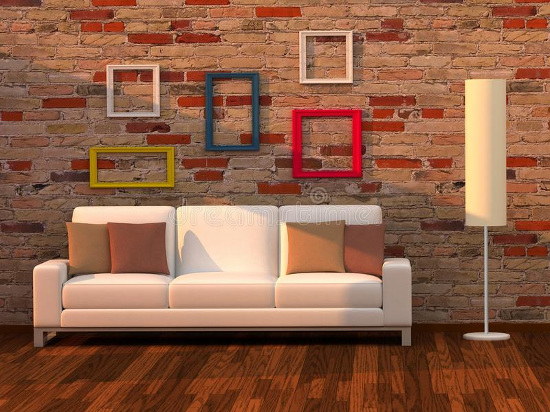 3d render living room, modern room royalty free stock image