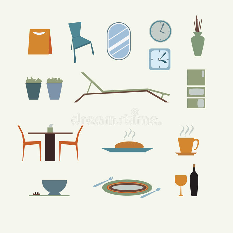 Abstract of furniture decorated design stock illustration