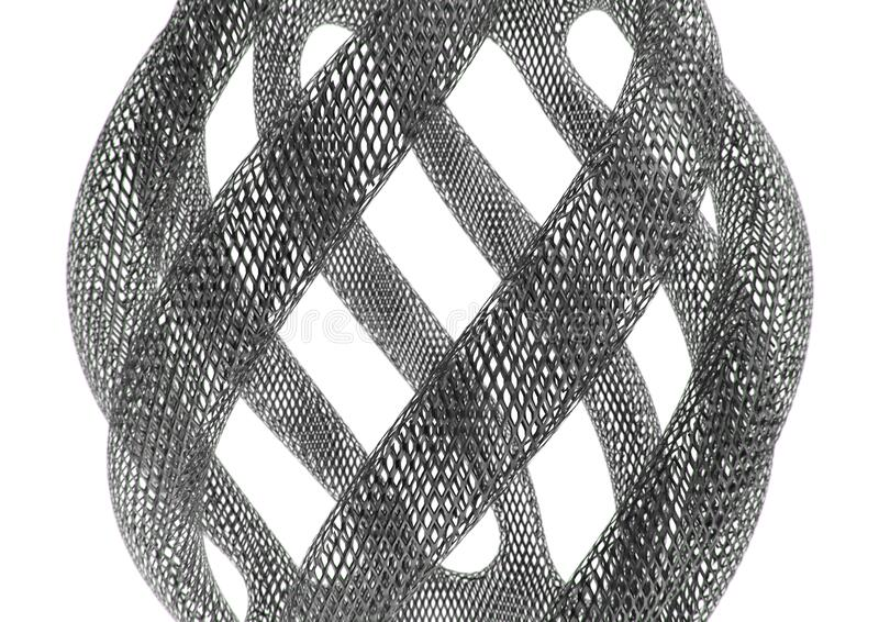 Abstract twisted tubes made of metal mesh netting. On white background. 3D rendering illustration royalty free illustration