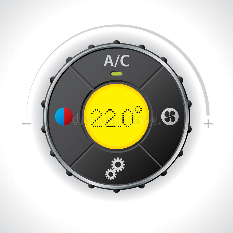 Air condition gauge with yellow led royalty free illustration