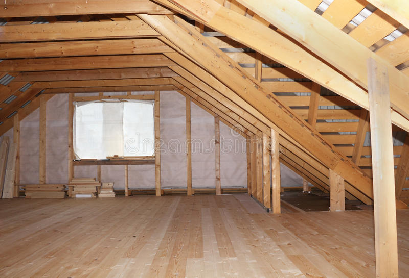 Attic in wooden house under construction overall view royalty free stock photos