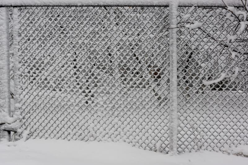 Background of fence mesh netting backdrop in heavy snow in winter. The background fence mesh netting in winter after heavy snow in Russia royalty free stock photography
