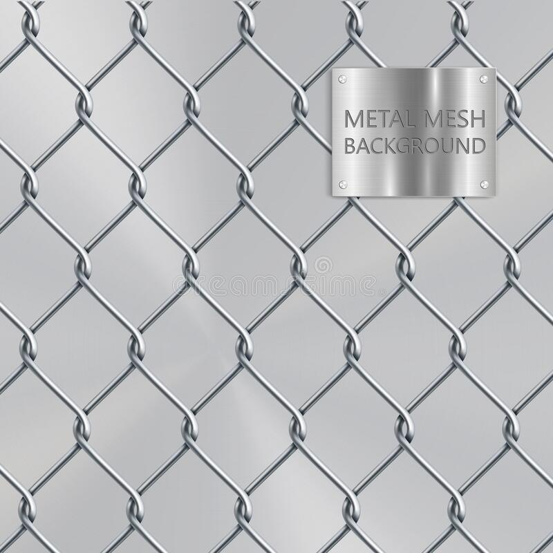 Background silver square realistic metal mesh netting. Background square silver realistic metal mesh netting royalty free illustration