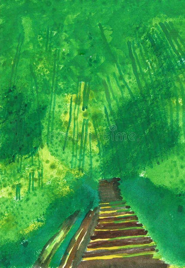 Bamboo Forest with Stairs into Uncertainty vector illustration