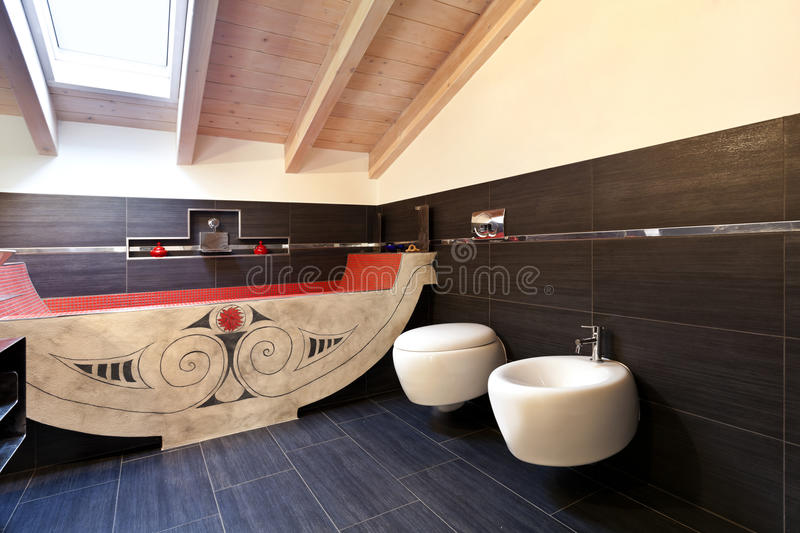 Bathroom with ethnic bath. Interior, new loft furnished, bathroom with ethnic bath royalty free stock photo