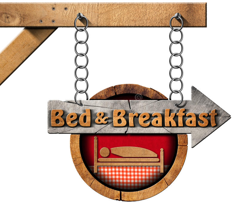 Bed and Breakfast - Sign with Chain royalty free illustration
