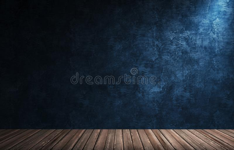 Big modern room with blue plaster wall, wooden floor and plinth stock photography
