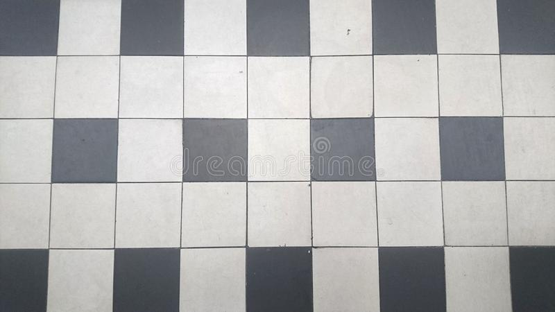 Black and White Floor tiles. Old Fashioned Black and White Floor tiles stock photos