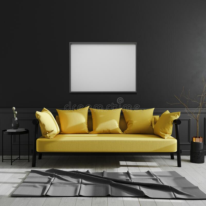 Blank frame on black wall, horizontal picture frame mock up in dark modern interior background with yellow sofa, scandinavian. Style, luxury home interior, 3d vector illustration