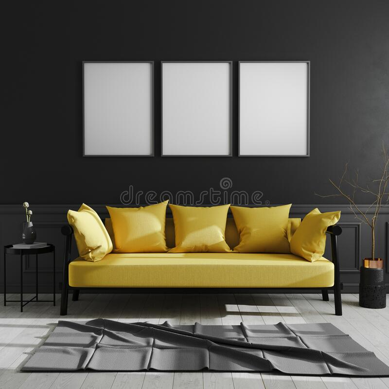 Blank frame on black wall, three vertical poster frame mock up in dark modern interior background with yellow sofa, scandinavian. Style, luxury home interior vector illustration