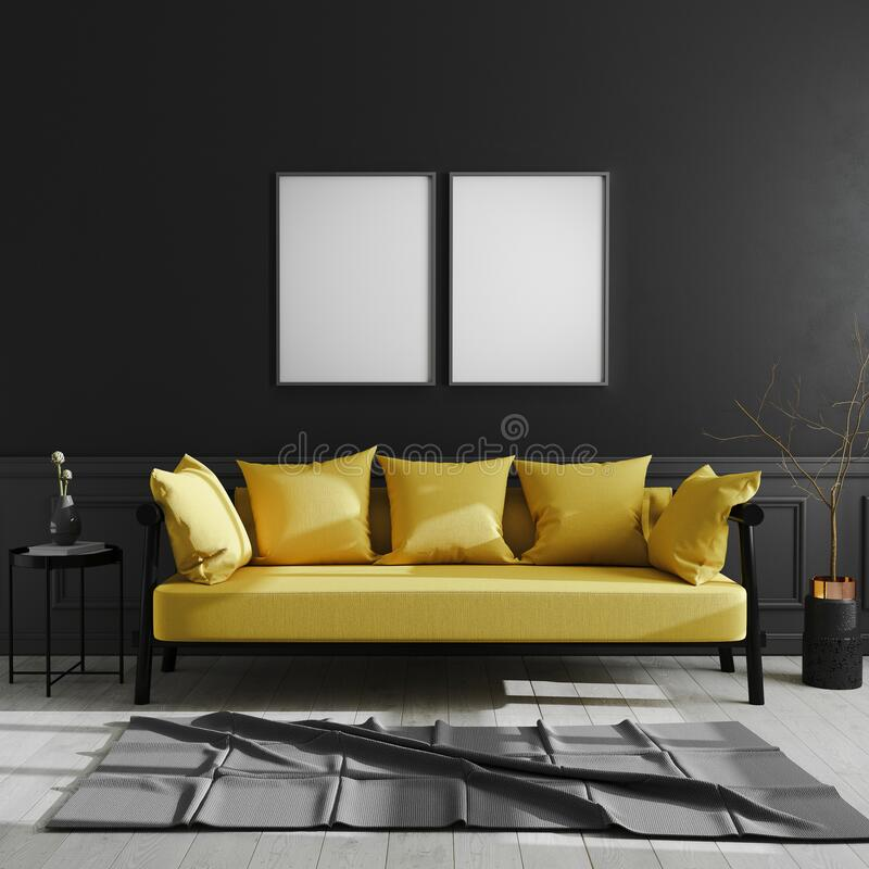 Blank frame on black wall, two vertical poster frame mock up in dark modern interior background with yellow sofa, scandinavian. Style, luxury home interior, 3d royalty free illustration