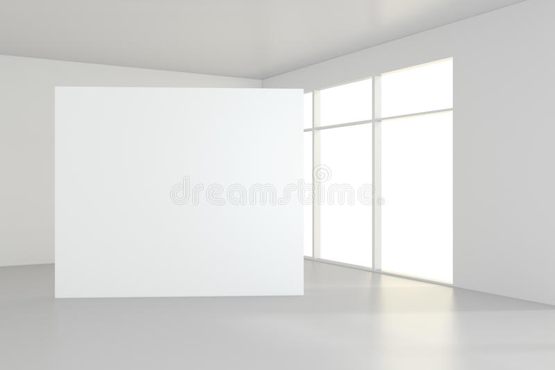 Blank white billboard in empty room with big windows, mock up, 3D Rendering royalty free stock image