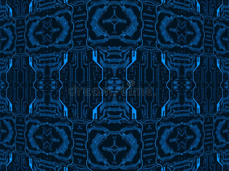 Blue on black circuit board.Symmetrical technology background. stock photos