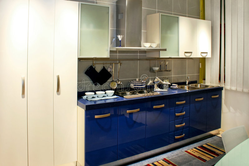 Blue kitchen stock photography