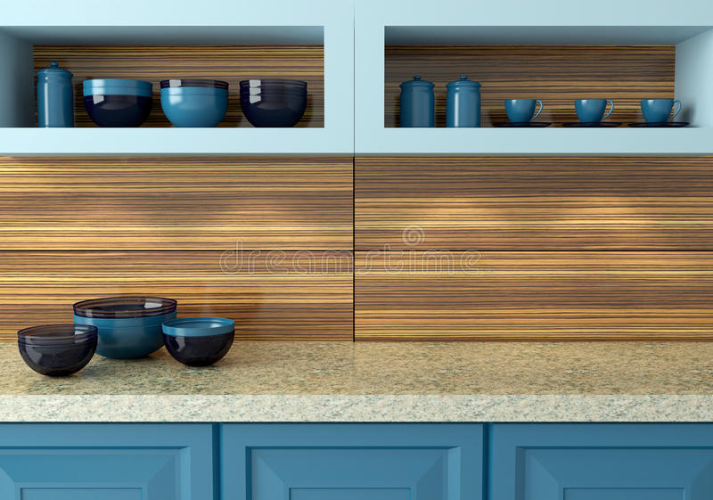 Blue kitchen design. stock photography