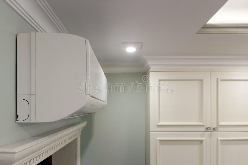 Bottom view of a sophisticated illuminated ceiling in the bathroom royalty free stock images