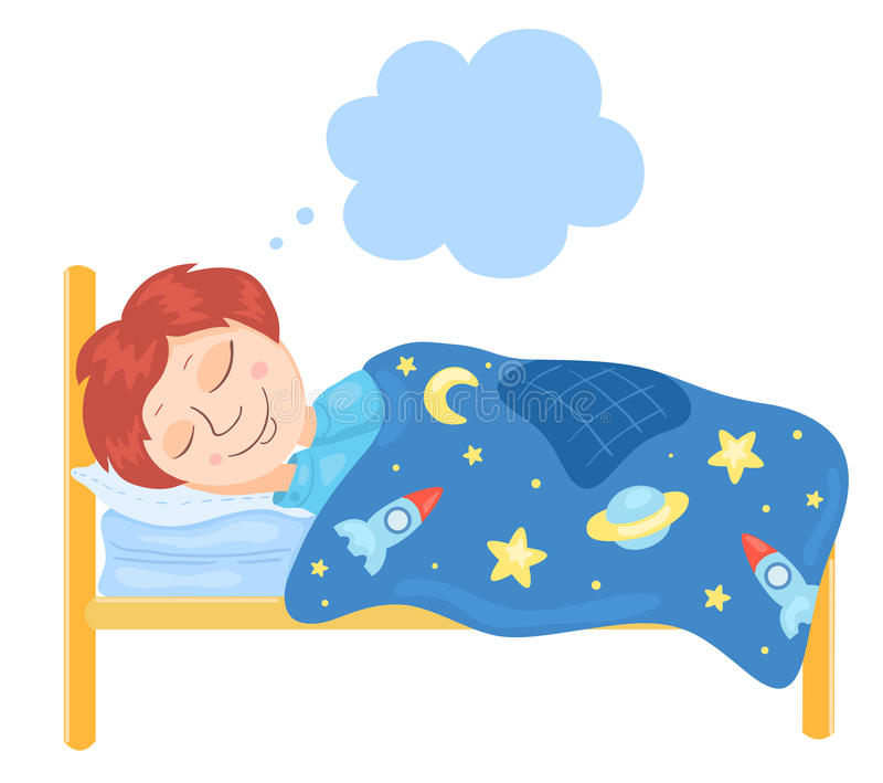 The boy sleeps in a bed vector illustration