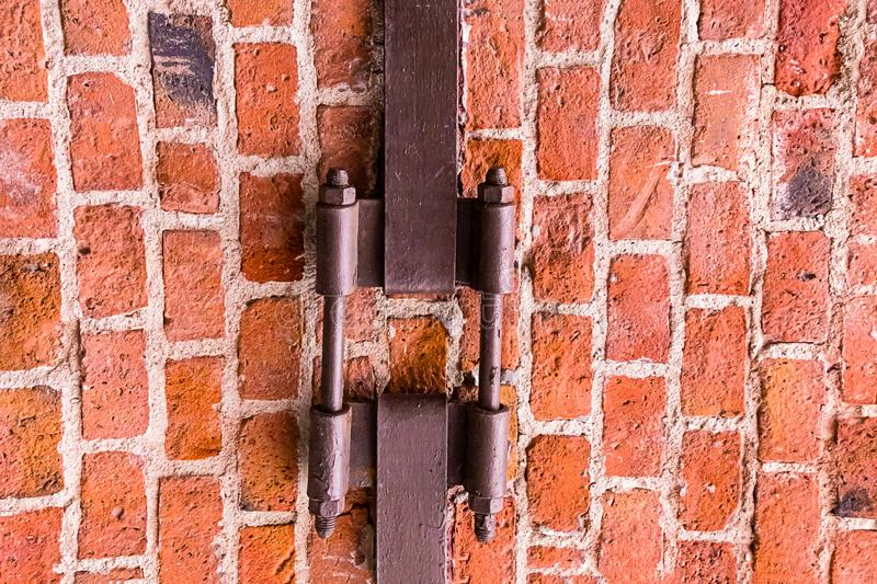brick wall with iron plate rusty weather-beaten coupler loft design base urban style background royalty free stock photos