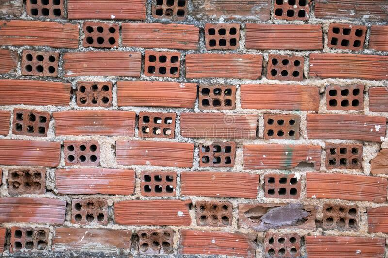 Brown red color, brick wall background and texture stock photography