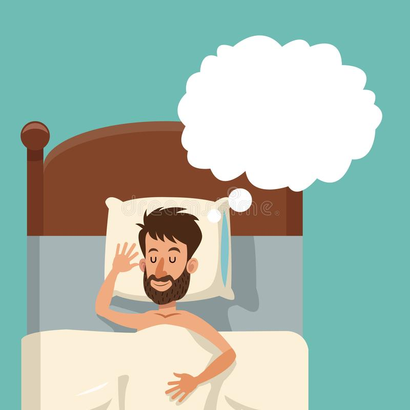 Cartoon bearded man sleeping dream shirtless bed royalty free illustration