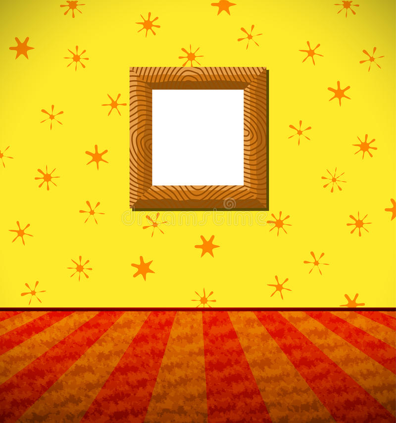 Cartoon childish room with wooden frame stock illustration