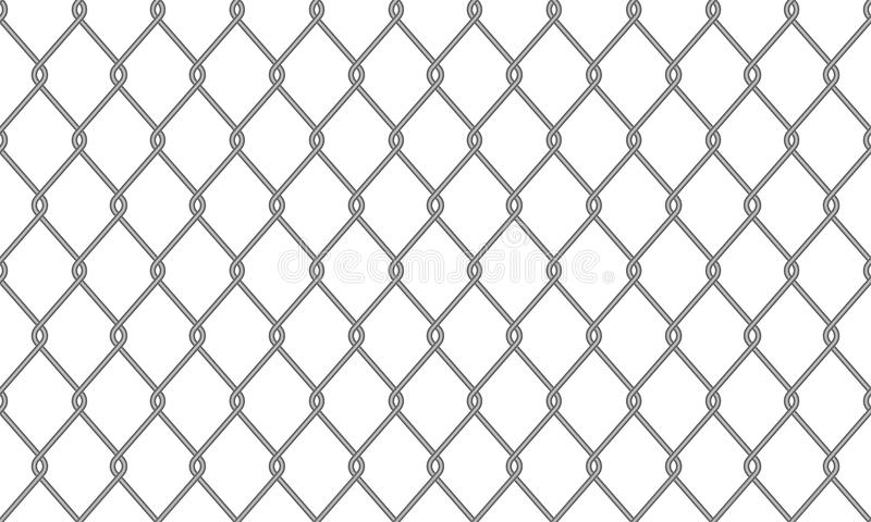 Chain-link fence wire mesh pattern background. Chain-link fence or wire mesh netting pattern background. Vector seamless realistic metal chain link fence stock illustration