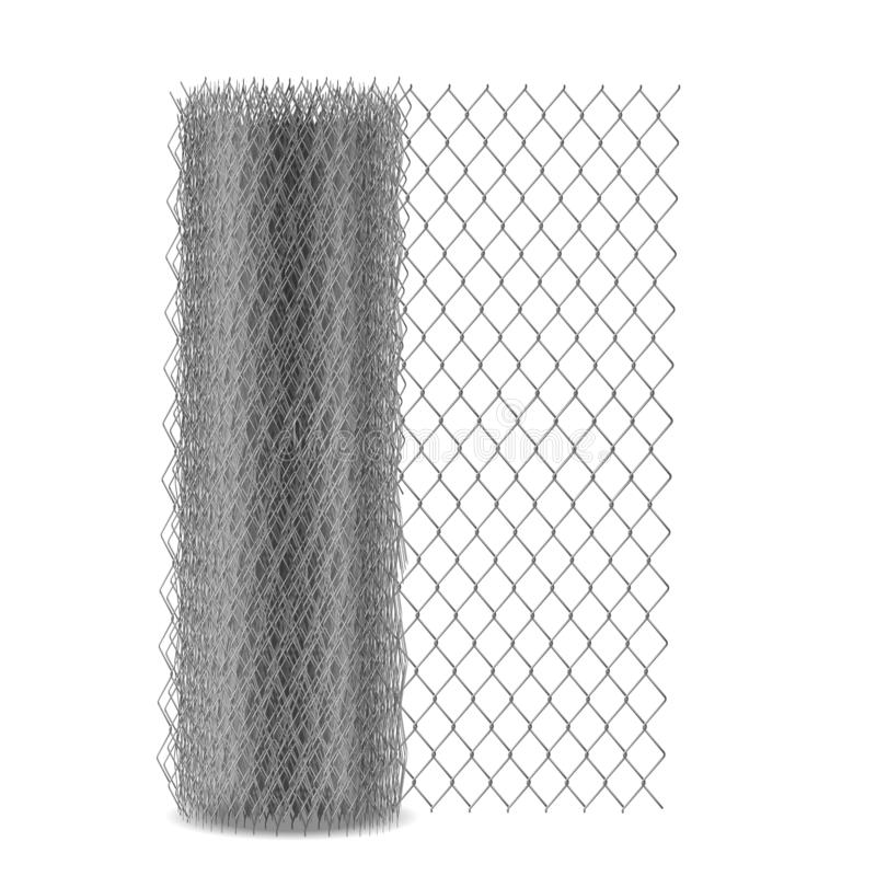 Chain link mesh fencing, rabitz in roll vector. Chain link mesh fencing with hexagonal eyelet, metal rabitz netting in roll 3d realistic vector illustration stock illustration