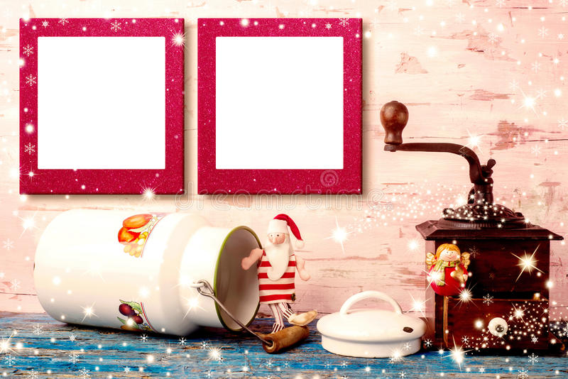 Christmas two empty photo frames card. Christmas photo frames cards, Vintage Santa Claus rag doll and Angel with antique milk pot and coffee grinder and two royalty free stock photography