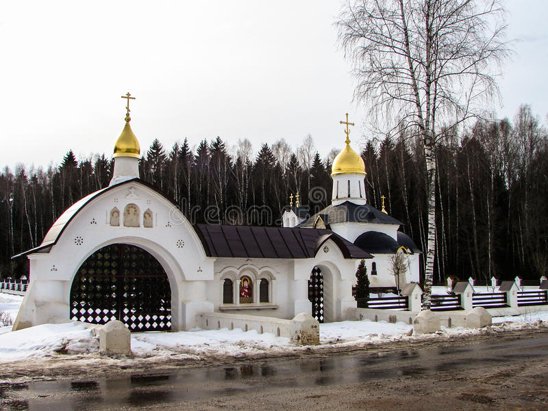 The Church is the chapel of Saint George in the village Lake (Medynsky district of Kaluga oblast, Russia). stock photography