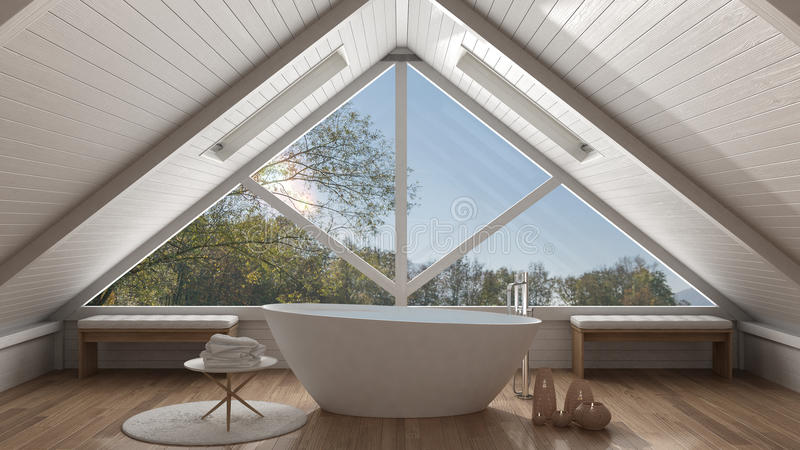 Classic mezzanine loft with big panoramic window, spa bathroom,. Summer or spring garden meadow, minimalist scandinavian interior design stock images