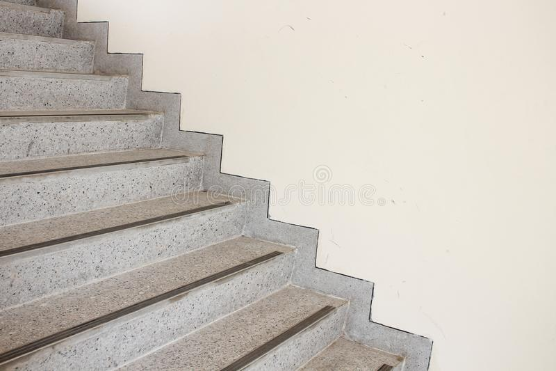 Close up Stairs terrazzo, marble floor. In sideways of a wall stock photography