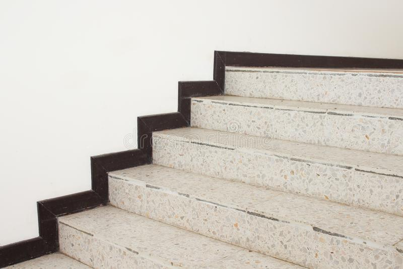 Close up Stairs terrazzo,marble floor in sideways of a wall.  stock images