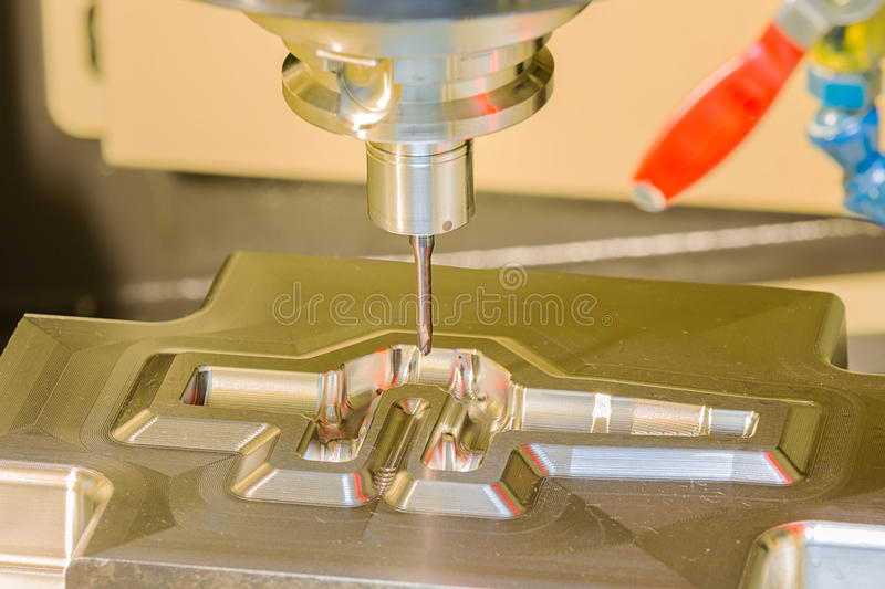 CNC machining center cutting forging die by endmill cad cam. CNC machining center cutting forging die by carbide endmill cad cam royalty free stock images