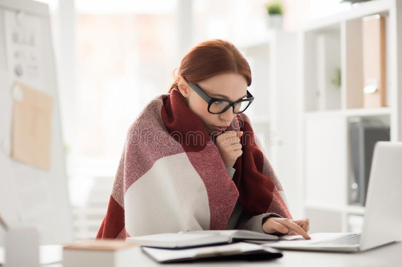 Cold in office stock image