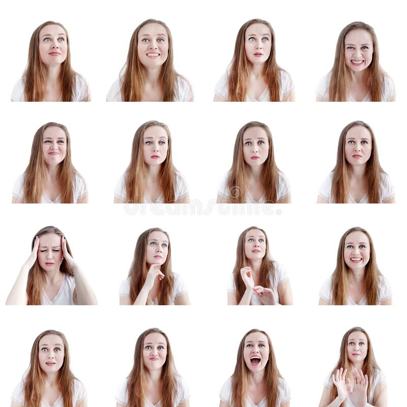 Collage image of sixteen different human emotions and reactions, young attractive caucasian woman headshots stock images
