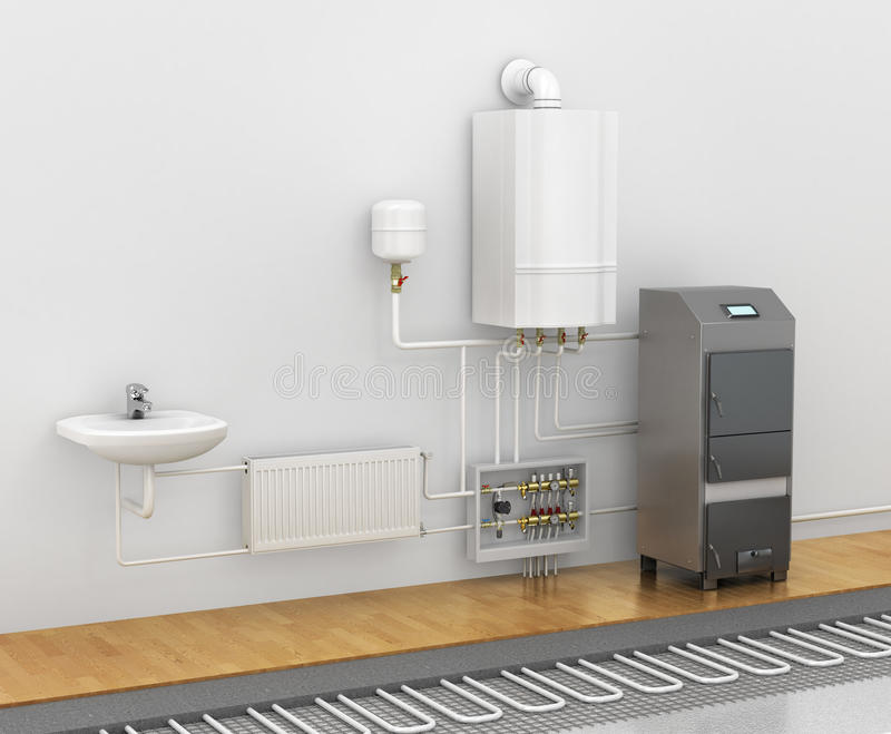 Concept of the scheme of the heating system. vector illustration