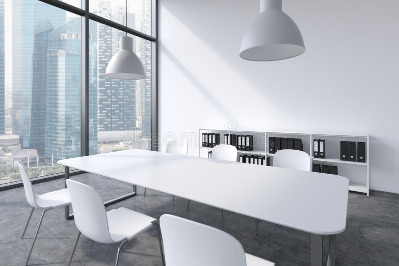 A conference room in a modern panoramic office with Singapore view. White table, white chairs, a bookcase and two white ceiling li vector illustration