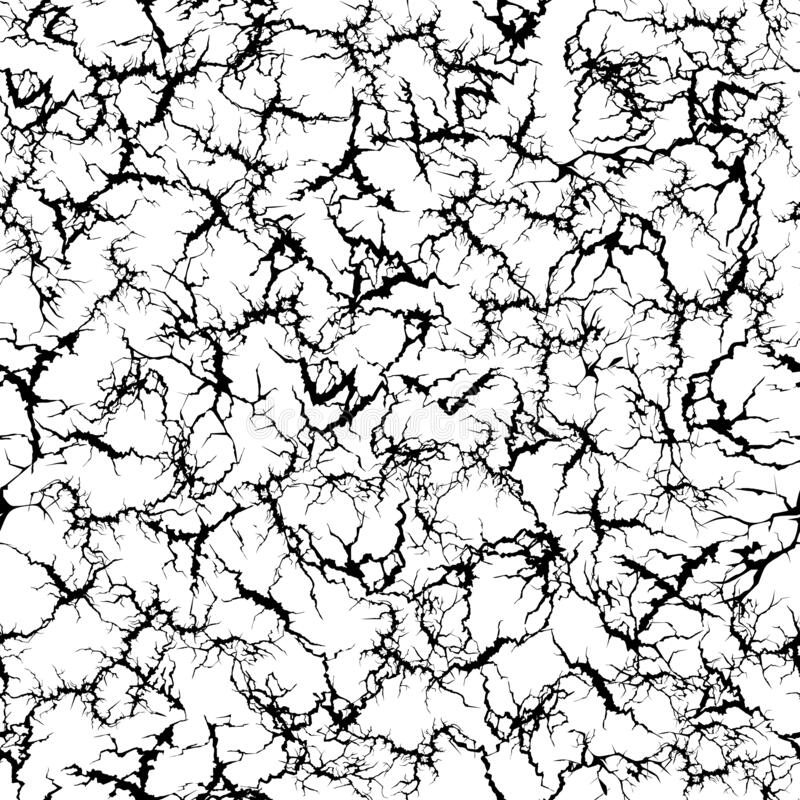 Craquelure pattern. Grunge cracks, cracked painted wall and ground crack texture seamless vector illustration stock illustration