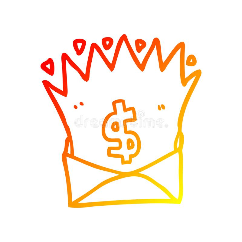 A creative warm gradient line drawing cartoon envelope with money sign royalty free illustration