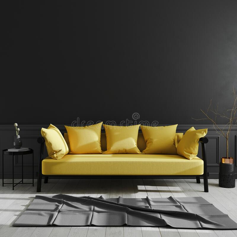 Dark living room interior with yellow sofa mock up, luxury modern living room interior background, black wall, scandinavian style. 3d rendering royalty free illustration