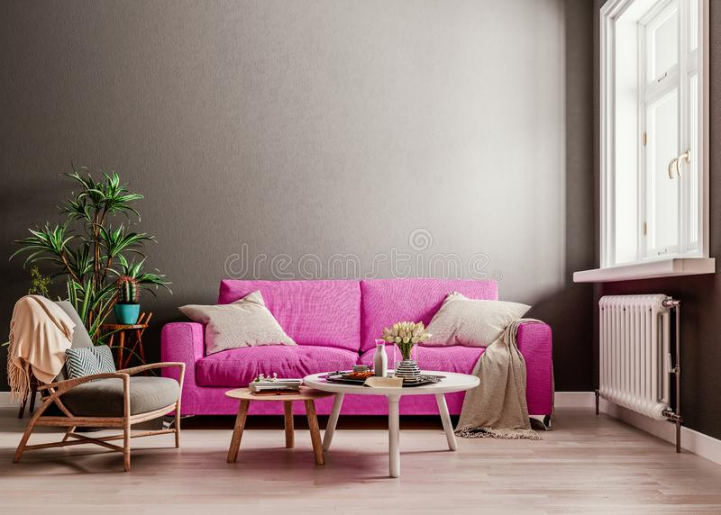 Dark mock up wall with violet purple sofa, two tables and a chair in modern interior background, living room with large window. An radiator, Scandinavian style stock illustration