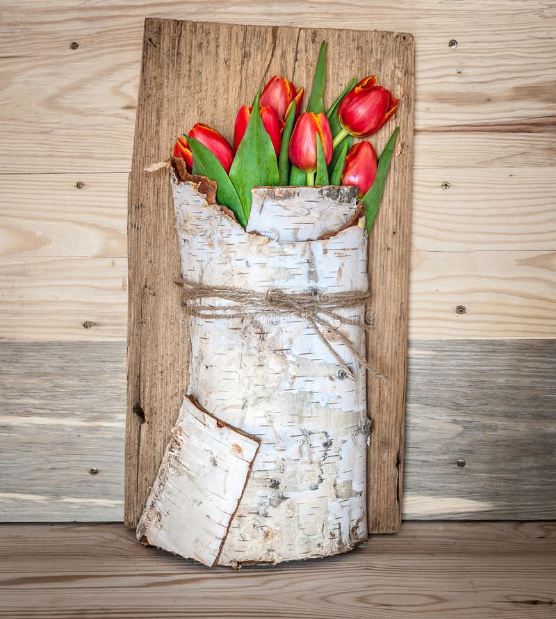 Decoration with Red Tulips in Birch Bark stock photography