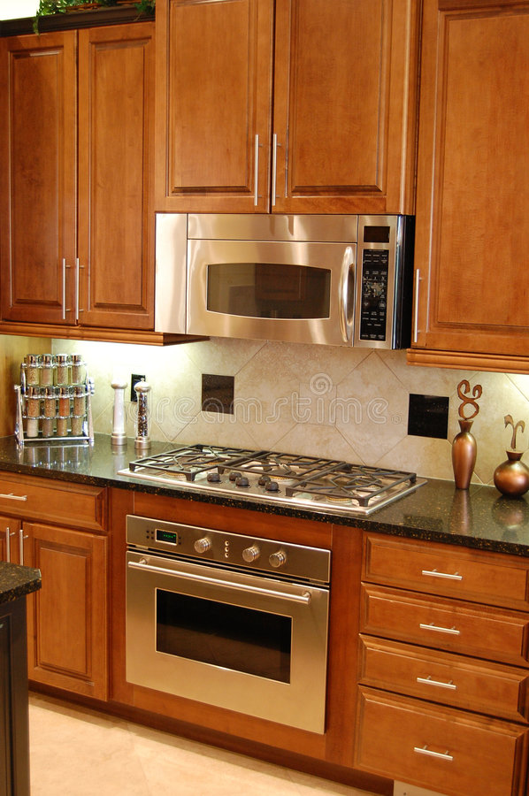Desiger Kitchen. Designer Kitchen with oven microwave and stove stock photos