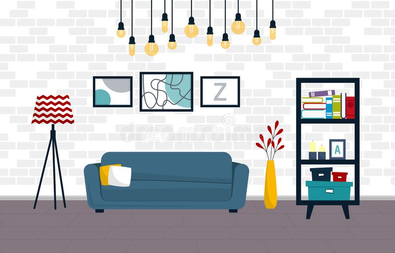 Design of modern interior of living room with brick wall. Room with sofa, shelves, lamp and vase vector illustration