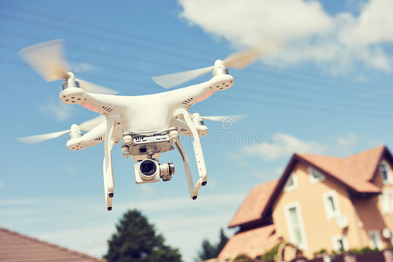 Drone usage. private property protection or real estate check stock images