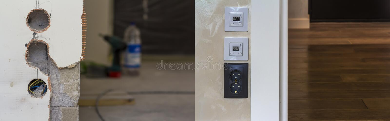 Electric socket and warm floor heater control panels on the wall royalty free stock images