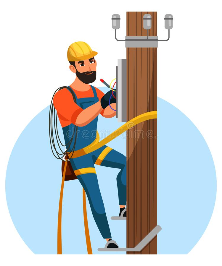 Electrician repair city electrical installation stock illustration
